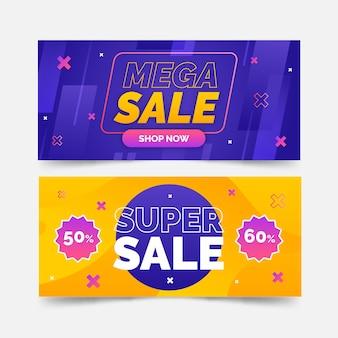 Set di banner di vendita astratta sfumata