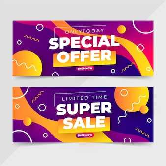 Gradient abstract sale banners set