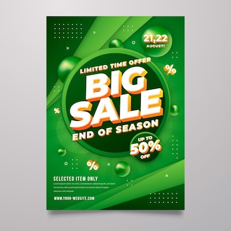 Gradient abstract sale poster template