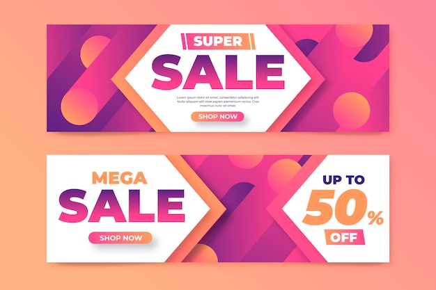 Gradient abstract sales banners with discount
