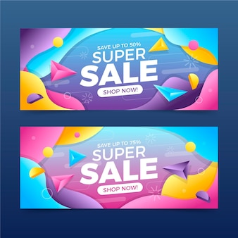 Gradient abstract sales banners