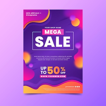 Gradient abstract sales poster template