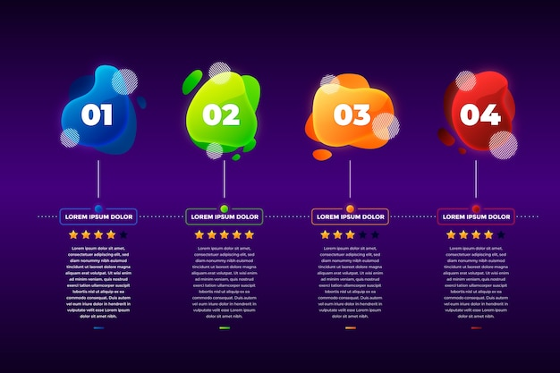 Gradient abstract shape infographic template