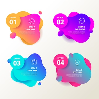 Gradient abstract shape infographics
