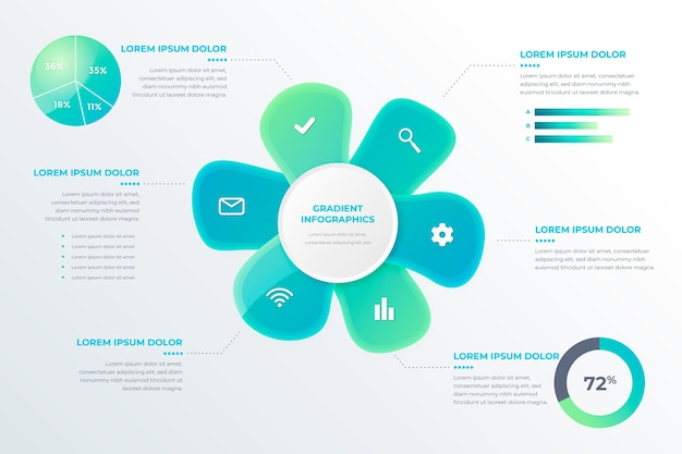 Gradient abstract shape template infographic