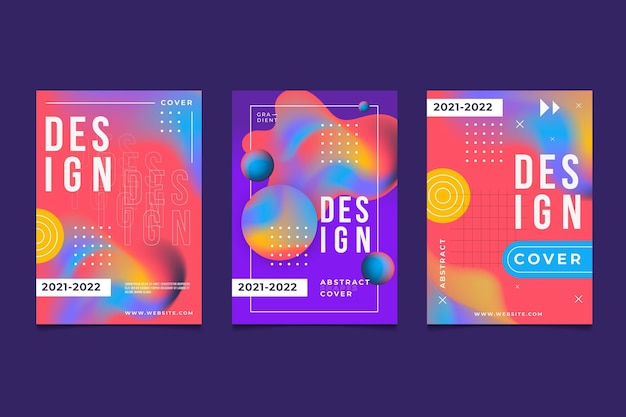 Gradient abstract shapes covers pack