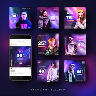 Gradient abstract social media instagram feed post banner template