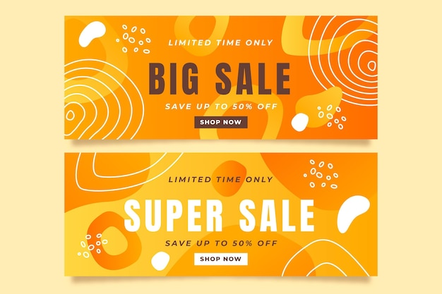 Gradient abstract style sales banners