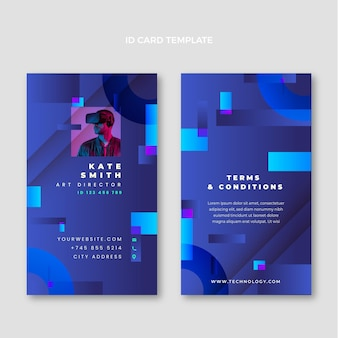 Gradient abstract technology id card template