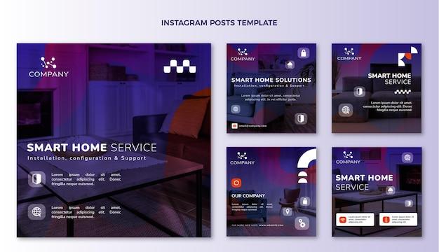 Post di instagram con tecnologia astratta sfumata