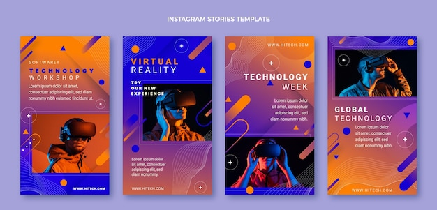 Gradient abstract technology instagram stories collection