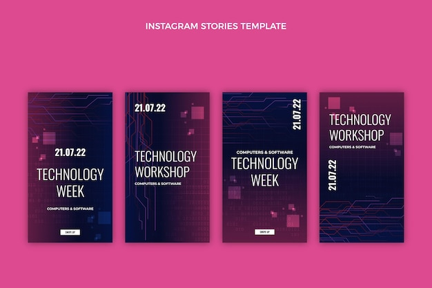 Gradient abstract technology instagram stories Free Vector