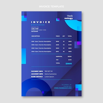 Gradient abstract technology invoice template