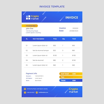 Gradient abstract technology invoice