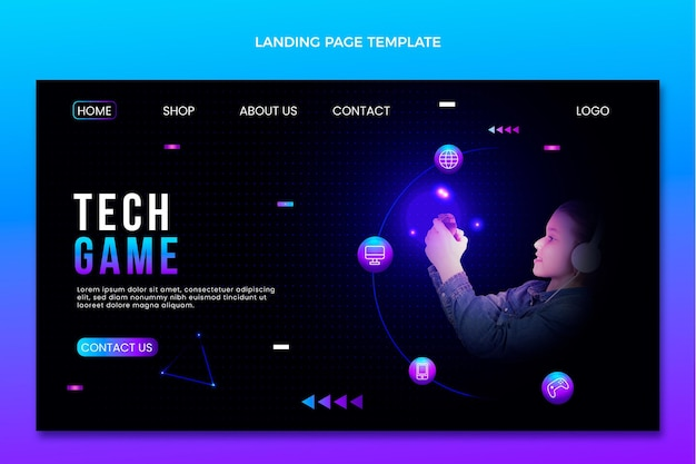 Gradient abstract technology landing page