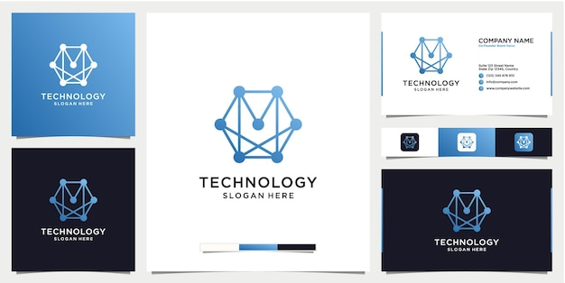 Gradient abstract technology logo with business card