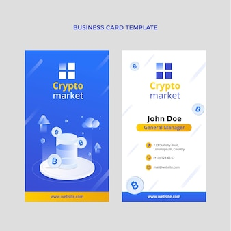 Gradient abstract technology vertical business card