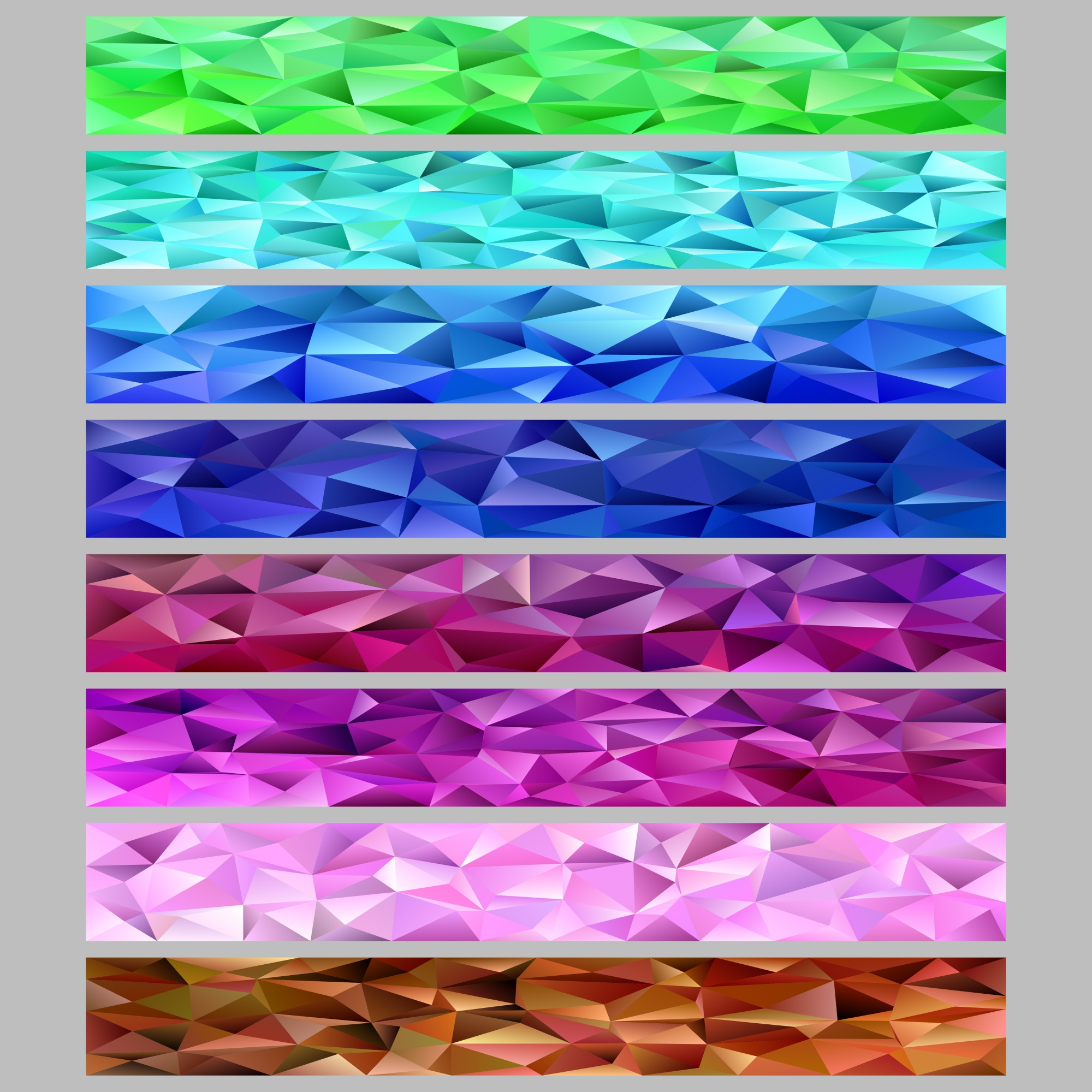 Gradient abstract triangle polygon pattern mosaic web banner background template set - graphic designs from colored triangles