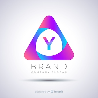 Gradient abstract triangular logo template