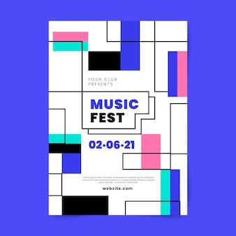 Шаблон плаката градиентного абстрактного вертикального музыкального фестиваля