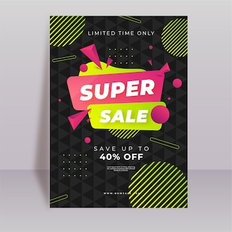 Gradient abstract vertical sale poster template