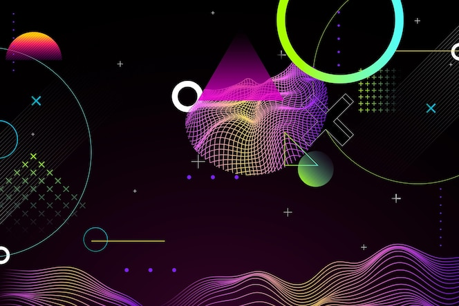 Gradient abstract wireframe background