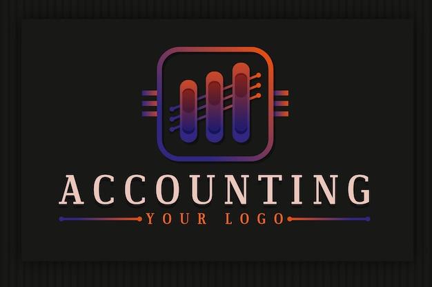 Градиентный бухгалтерский логотип с диаграммой