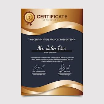 Modello di certificato di realizzazione gradiente