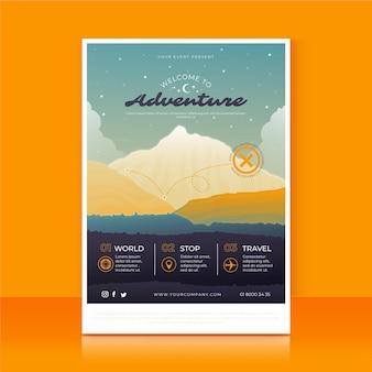 Gradient adventure flyer with mountain