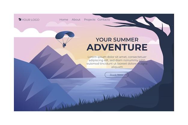 Gradient adventure landing page template