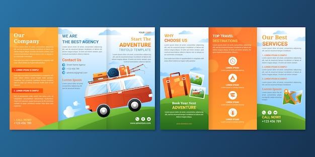 Modello di brochure a tre ante avventura gradiente