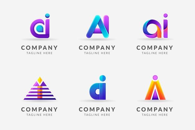 Коллекция шаблонов градиентных логотипов ai