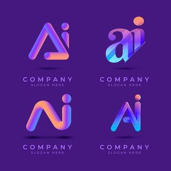 Набор шаблонов градиентного логотипа ai