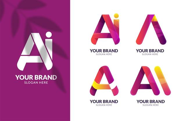 Gradient ai logo template pack