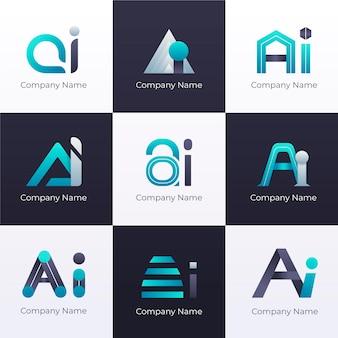Набор градиентных шаблонов логотипа ai