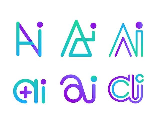 Gradient ai logo template set