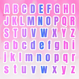 Gradient alphabet letter set