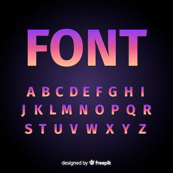 Gradient alphabet template flat design
