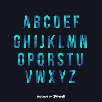Gradient alphabet template flat design