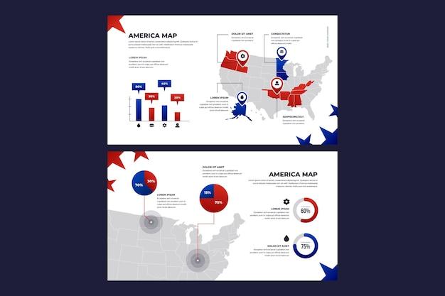 Градиентная карта америки инфографики