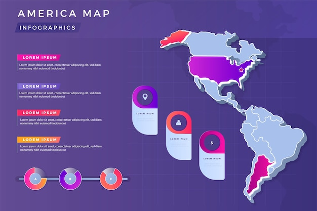Gradient america map infographic
