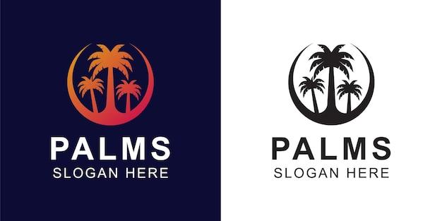 Градиентные и черные логотипы пальм для летних флюидов на пляже или в стиле гавайских логотипов