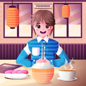 Ragazzo anime sfumato che mangia in un ristorante