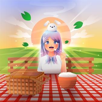 Ragazza anime sfumata che fa un picnic