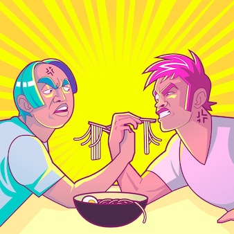 Gradient anime people eating in a restaurant