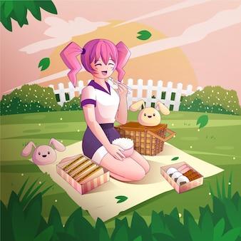 ピクニックをしているグラデーションアニメの人々