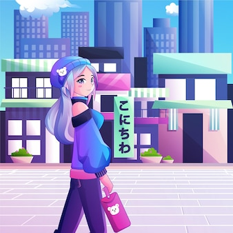 Gradient anime people walking down the street