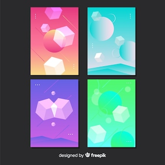 Gradient antigravity geometric shapes poster set