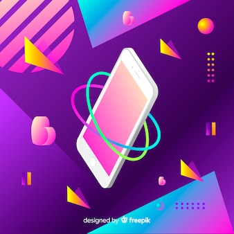 Gradient antigravity mobile phone with elements