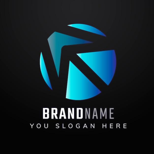 Design del logo con lo slogan modificabile con freccia sfumata Vettore gratuito